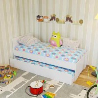Single size bed with optional trundle bed or drawers